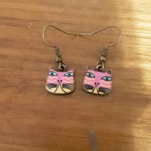 Jewelry - Pink and yellow kitty earrings